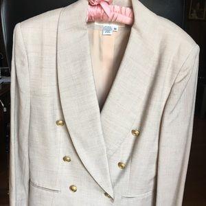 Jones New York Double Breasted Suit, Linen,Size 10
